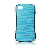 Силиконов калъф с кожен гръб Fashion Style за IPhone 4s син вълни