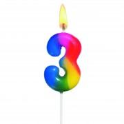 Lumanare aniversara, cifra ''3'', curcubeu, HERLITZ