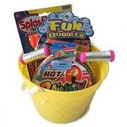 Summer Fun Bucket of Toys Bundle 4 items: Bucket Jump Rope 5 in 1 Fun Bubbles Splash Water Rocket