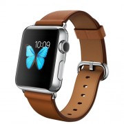 APPLE 38MM STAINLESS STEEL CASE WITH SADDLE BROWN CLASSIC BUCKLE