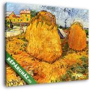 Vincent Van Gogh: Szénaboglyák Provenceban (30x25 cm, Vászonkép )