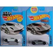 LAMBO SESTO ELEMENTO Hot Wheels 2014 HW City Series Lamborghini Sesto Elemento Set of 2 (White & Gray) 1:64 Scale Collectible Die Cast Metal Toy Car Model