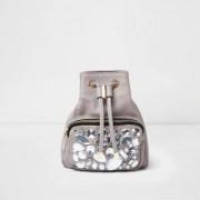 River Island Womens Grey gem embellished mini backpack