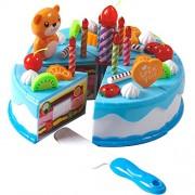 Plastic Pretend Play Velcro de corte de cumpleaños Cake juguetes conjunto con velas para niñas Niños, 38 piezas (azul)