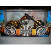 Muscle Machines West Coast Choppers Sturgis Special Gold Flames Custom Chopper Jj04 10 04 California Jesse James 1:10 Diecast
