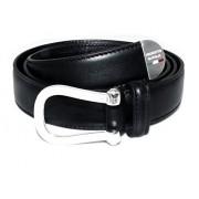 Cintura cinta uomo in vitello nero con fibbia e puntale in argento 925 massiccio 105 cm