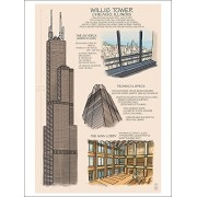Chicago, Illinois Willis Tower Technical (Playing Card Deck 52 Card Poker Size With Jokers)