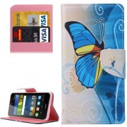 Huawei Y6 Pro Half Blue Butterfly Pattern Leather Case with Holder & Card Slots & Wallet