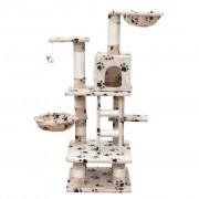 vidaXL Škrabadlo pre mačky 122 cm, béžové s odtlačkami labiek