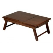 """Antique Walnut Alden Lap Desk, Flip Top with Drawer, Foldable Legs"""