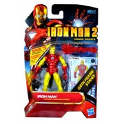 Hasbro Year 2010 IronMan 2 Comic Series 4 Inch Tall Action Figure Set #28 - Classic Armor IRON MAN with Pointy Mask, Snap-On Red Repulsor Blast, Blast-Off Base, Figure Display Stand Plus 3 Armor Cards