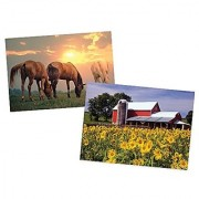 Melissa & Doug Jigsaw Puzzles Set - Sunrise Horses and Sunflower Farm (300 pcs each)