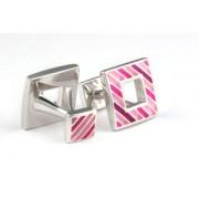 Mousie Bean Enamelled Cufflinks Polo Stripes 149 Tonal Pink