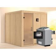 KARIBU Sauna Systemsauna Rodin satiniert inkl. 9 kW Saunaofen ext. Steuerung
