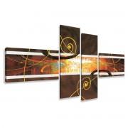 Tablou multicanvas abstract- gri,negru, grena - 120x75cm, BM3036