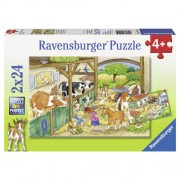 Puzzle o zi la ferma, 2x24 piese, RAVENSBURGER