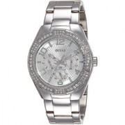 GUESS Silver Stainless Steel Round Dial Analog Watch For Women (W0729L1)