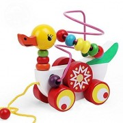 Niuniu Daddy Pull Along Toys Bead Maze Duck Intelligence Trailer Wooden Toys 6.7x3.1x4.7 inches