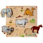 Skillofun Wooden Junior Identification Tray Useful Animals II with Knobs, Multi Color