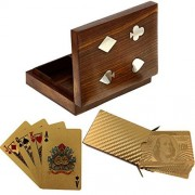 Deluxe Wooden Double Card Box with 2 Deck of Gold Plated Playing Cards in Dollar Design by RoyaltyLane