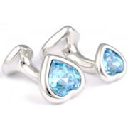 Mousie Bean Crystal Cufflinks Double Heart 130 Aqua