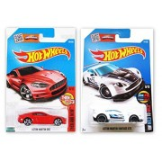 Hot Wheels 1:64 - Then And Now Aston Martin DBS Red 106/250 & Mild to Wild Aston Martin Vantage GT3 61/250 [Combo]