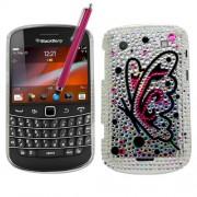 Samrick Coque avec film protecteur d'écran, chiffon en microfibres et stylet haute performance rose pour Blackberry 9900/9930 Bold Touch Motif papillons en strass Argenté/rose
