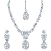 Sukkhi Luxurious Rhodium Plated Australian Diamond Stone Studded Necklace Set