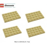 Lego Parts: Plate 4 x 6 (PACK of 4 - Tan)