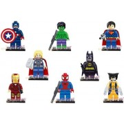 Captain America Thor Spiderman Superman Batman 8 Mini Figure Set Fits with Lego