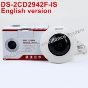 Free shipping English version DS-2CD2942F-IS 4MP Compact Fisheye Network ip security Camera with Fisheye & PTZ view