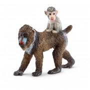Figurina Animal Femela Maimuta Mandril cu pui