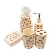 Accesorii pentru baie din ceramica - set crem 5 piese