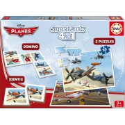 EDUCA 15780 Superpack Avioane 4 în 1 Puzzle, Domino, Pexeso