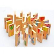 Bilipala 28 PCS Creative Wooden Domino Block Puzzle Building Block for Baby Kids