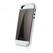 Силиконов калъф Fashion Style с кожен гръб за IPhone 5s черен-бял