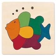 Hape George Luck Rainbow Fish Wood Puzzle (8 Piece)