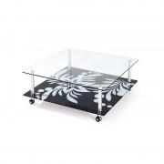 Mesa durcal baja fabricada en aluminio y cristal 100 x 100 cms casa de