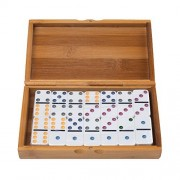 RUNNOW Domino Professional Double 6 Jumbo Dominos Tournament 28 Tiles Board Game With Wood Case