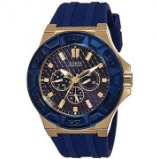 GUESS Blue Silicone Round Dial Quartz Watch For Men (W0674G2)