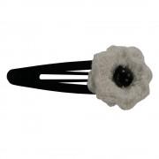 Clama de par, dama, Buticcochet, crosetata manual, Floare Alb, cu Perla Neagra