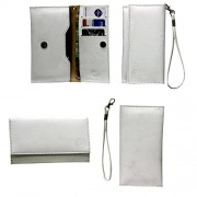 Jo Jo A5 G8 Leather Wallet Universal Pouch Cover Case For Samsung Guru Music 2 White