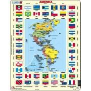 Puzzel Amerika met vlaggen | Larsen