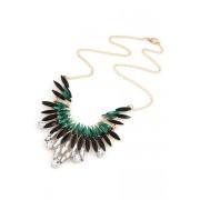 Zaful Faux Gem Feather Shape Pendant Necklace