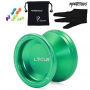 Pro Responsive Yoyo with Ball Bearing for Beginners Learner MAGICYOYO V6 LOCUS SPACE Aluminum Yoyos with Bag Glove 5 Strings Green