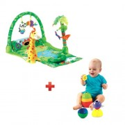 Fisher-Price Rainforest Musical Gym with Free Fisher-Price Stack and Roll Cups (Green)