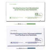 One Step - 4 Packs que contiene cada uno 60 Tests de Ovulación 20 mIU/ml y 30 Pruebas de Embarazo 10mIU/ml - Nuevo Formato Económico de 2,5 mm - 360 tiras en total