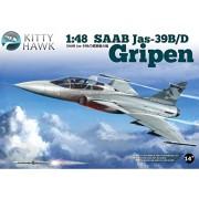 Kitty Hawk KH80118 - Modellino di aereo Gripen Jas 39 B/D a 2 sedili, scala 1:48