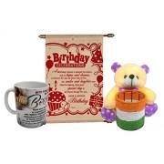 Saugat TradersGifts For Birthday - Soft Teddy Pen Stand, Mug & Birthday Scroll Card