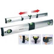 Nivel profesional extensible de aluminio de 900mm a 1200mm con base de apoyo para tubo